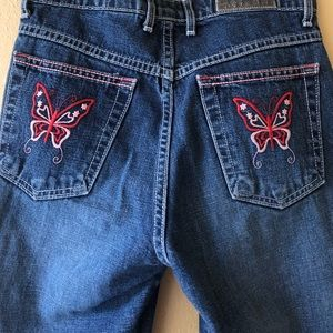 Y2K Pink Butterfly Embroidered Flare Jeans